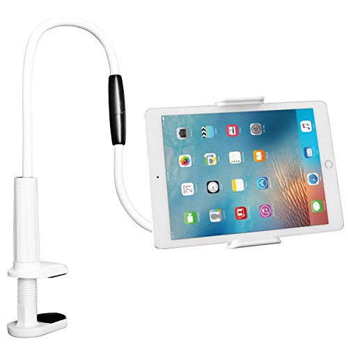 Peyou Gooseneck Phone Tablet Holder, Adjustable Flexible Gooseneck Lazy Cellphone Tablets Clip Desk Mount Stand Holder, 360 Degree Rotating, 40 Inches Arm Bolt Clamp with Bracket for 4-10.6'' Devices by Peyou