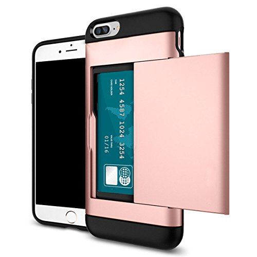 Shockproof Wallet Credit Card Pocket Holder Case Cover For iPhone X 8 7 6s Plus (Rose Red, iPhone - Classic Light One Neo