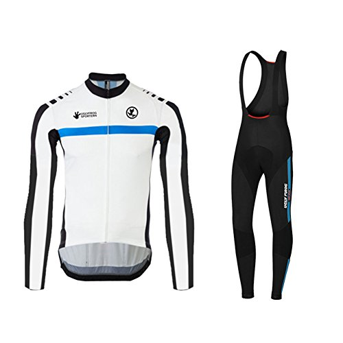 Uglyfrog Newest #01 Long Sleeve Cycling Jersey + Bib Tight Sets with Gel Pad Men Breathable Outdoor Sports Wear Winter Fleece Bicycle Triathlon Top Quick Dry 02 (Team Gb-triathlon)