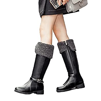 Amazon.com | Women Vintage Low Heel Buckle Mid Calf Boots