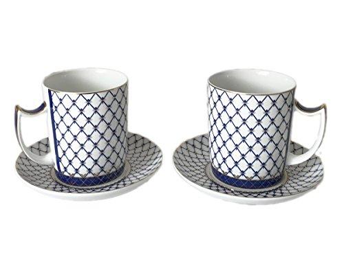 (BohemianGifts Russian Lomonosov Design Cobalt Blue Net SET 2 Tea Mugs and Saucers, Saint Petersburg)
