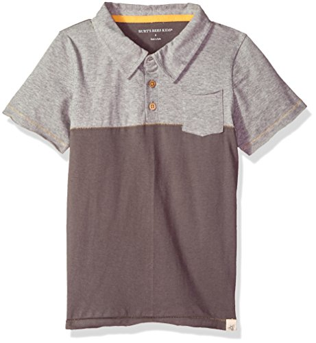 Burt's Bees Baby Baby Boy's Little Kids T-Shirt, Short Sleeve V-Neck and Crewneck Tees, 100% Organic Cotton, Slate Polo 5 Years