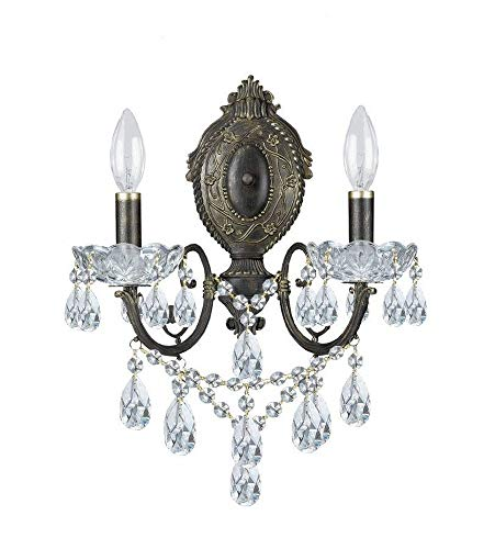 Crystorama 5192-EB-CL-S Crystal Accents Two Light Sconces from Legacy collection in Bronze/Darkfinish, 7.00 ()