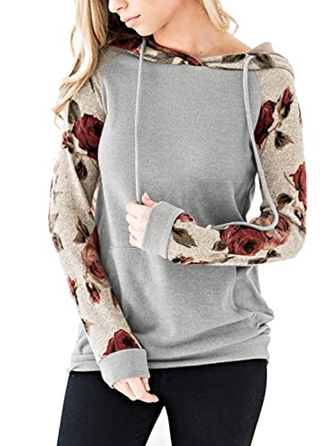 Chunoy Woman Ladies Floral Gray Hoodie Pullover Hooded Shirt with Pocket Grey ()