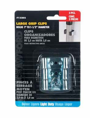 Lehigh 13202 Grip Clip Organizer, Silver, Large, pack of 3