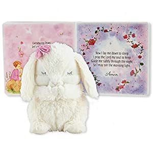 """EVERYBUNNY PRAYS BABY GIFT SET is a beautifully packaged keepsake gift that includes a watercolor illustrated board book about prayer and a """"Pray with Me"""" plush bunny that recites """"Now I Lay Me Down to Sleep"""" in a sweet little girl's voice when you press her tummy. The book and luxurious plush bunny are packaged in a keepsake box with white ribbon. PRESS MY TUMMY & PRAY WITH ME BUNNY measures 7 inches tall and is made of luxuriously soft plush fur with embroidered details and pink rose flower accent. Bunny's hands are in a praying position and when you press her belly, she recites the prayer """"Now I Lay Me Down to Sleep"""" in a little girl's voice. EVERYBUNNY PRAYS BOARD BOOK includes 16 beautiful hand drawn watercolor illustrations providing children with an understanding of prayer and how special it is to communicate with God. The last page of the book contains the prayer """"Now I Lay Me Down to Sleep"""" so children can say the prayer along with the bunny."""