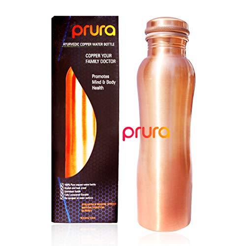 (PRURA Pure Copper Matte Finish Copper Water Bottle A Leak Proof Ayurvedic Pure Copper Flask (900ml/30oz, Design 3))