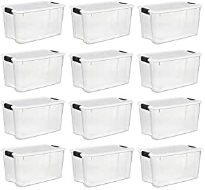 Sterilite 30 Quart/28 Liter Ultra Latch Box, Clear with a White Lid and Black Latches, 12-Boxes (30 Quart. 12-Boxes)