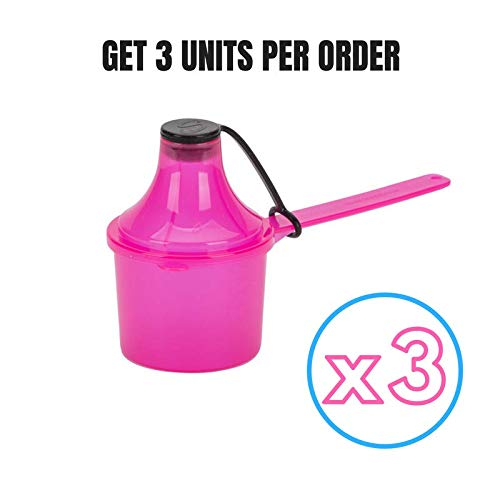 (Scoopie 3 Count Portable Scoop Funnel Formula Dispenser, Pink - #1 Mom and Dad Approved - Eco Friendly - On The Go Baby Food and Powder Container for Baby Bottles and Water Bottles)