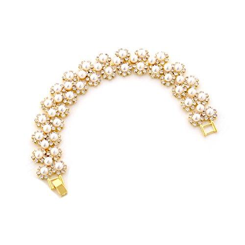 Topwholesalejewel Bridal Bracelet Gold Crystal Circle Rhinestone White Pearl Link Bracelet