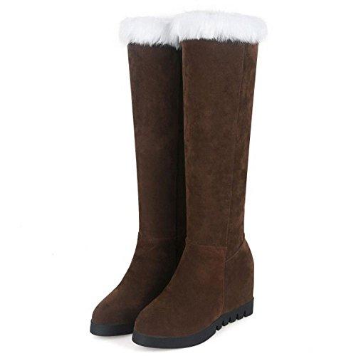 RAZAMAZA Women Boots Pull On Hidden Heel Brown 4311nKZpD