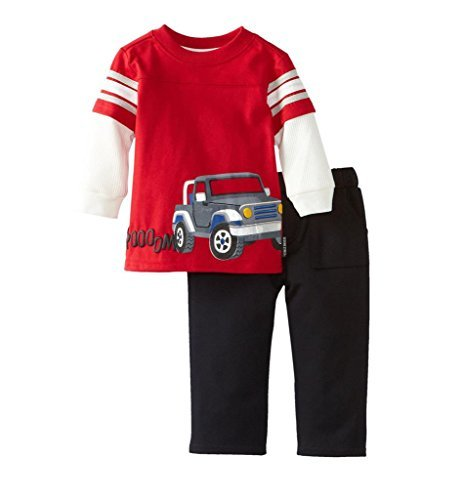 ar Long Sleeved T-Shirt & Pants 2pcs Set G5009(5/6Y, Red) ()