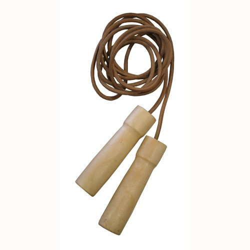 AMBER Sports Leather Jump Rope with Wooden Handles (9.5-Feet)