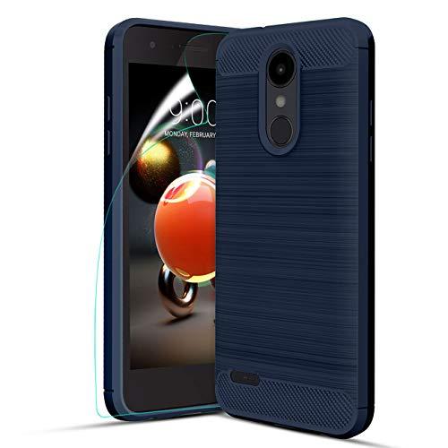 LG Aristo 2 Case,LG Tribute Dynasty/LG Aristo 3/Aristo 2 Plus/Rebel 4/Phoenix 4/LG Tribute Empire/Zone 4/Fortune 2/K8 2018/K8 Plus Case wScreen Protector,Carbon Fiber Brushed TPU Protective Case,Navy