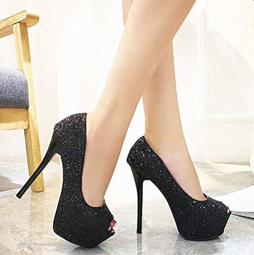 shoes tables heels fish jog shallow sequins mouths 14CM mouths thin shoes silvery women's fashionable high heels Sexy waterproof LBTSQ n1EzqxT6