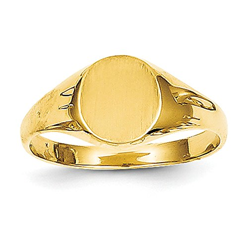 Qgold Baby and Children 14K Gold Signet Ring - Ring Yellow Gold Signet Childrens