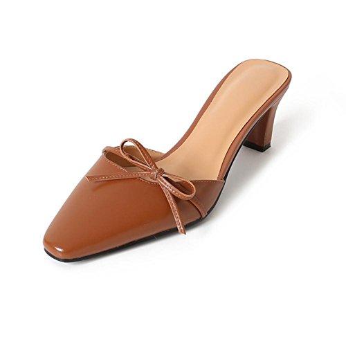 Bowknot Cinta Zapatos Confort Para Zapatilla Toe Tacón Dark Brown L0109 KJJDE Peep Sandalias Chanclas Caminar de WSXY Mujer 1HwYqR8