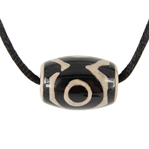 Steampunkers USA Wild Earth Collection - Dzi Drum 25mm, Black & White Agate Pendant - Adjustable Soft Black Poly Woven Washable Cord - Gemstone Tribal Ethnic Carved Necklace