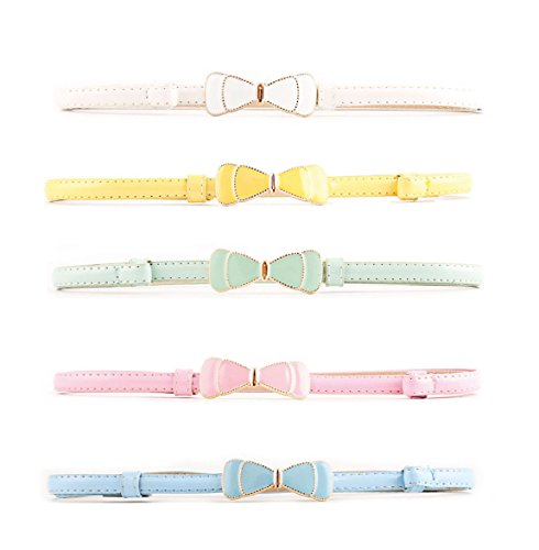 Women Slim Waist Belt with Cute Bowknot in Solid Colors (pack of 5(white pink yellow mint blue)) 0.5' Wide Leather