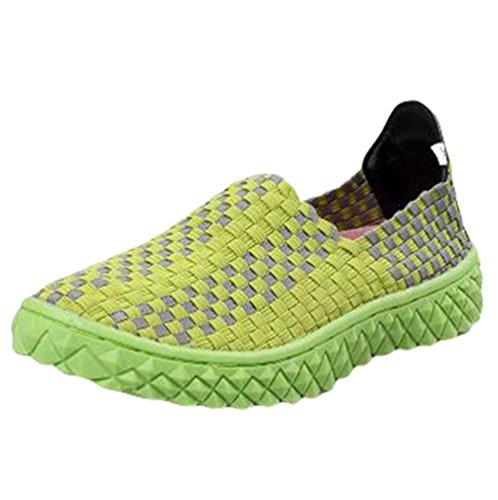 Anguang Unisex Tejido Respirable Casual Zapatos Comodidad Elástico Ponerse Entrenadores Suave Zapatos Verde