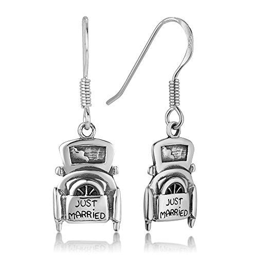 "925 Oxidized Sterling Silver Vintage Wedding Just Married Car Dangle Hook Earrings 1.2"""