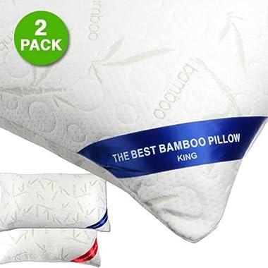 2 Pack: The Original Best Bamboo Memory Foam Hypoallergenic Pillow (KING)