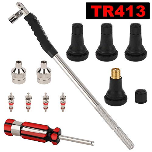 Hromee Tire Valve Stem Tool Puller and Installer Kit with TR-413 Tubeless Snap-in Valve Stem, Single Head Valve Core Remover and Slotted-Head Valve Cap Tire Repair Tool Accessory - Stem Puller