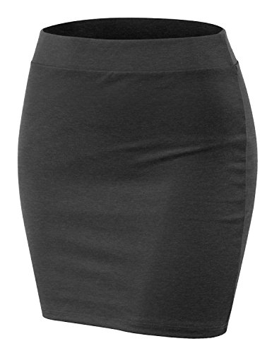 - CLOVERY Women's Basic Mini Skirt with Wide Waist Band Charcoal 3XL Plus Size