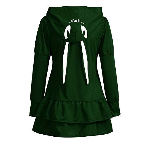 Capuche Cosplay Femmes Gothiques Longues Armée Fille Manteaux Manches Vestes Lapin Les Verte À Vintage 0IBqa7w