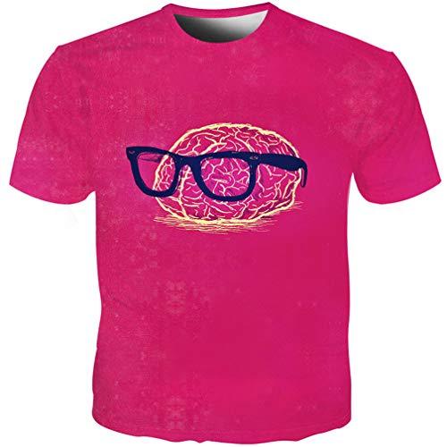 GF.UYI Summer Men Causal Style Cool T-Shirt 3D Brain Glasses Printed Short Sleeve Streetwear - Bird Giant Glass Brain