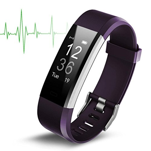 Price comparison product image Boofab Fitness Tracker ID115 Plus HR,  Activity Tracker Watch with Heart Rate Monitor IP67 Water resistant Smart Bracelet with Calorie Counter Watch for Android and iOS for kids women men (purple)
