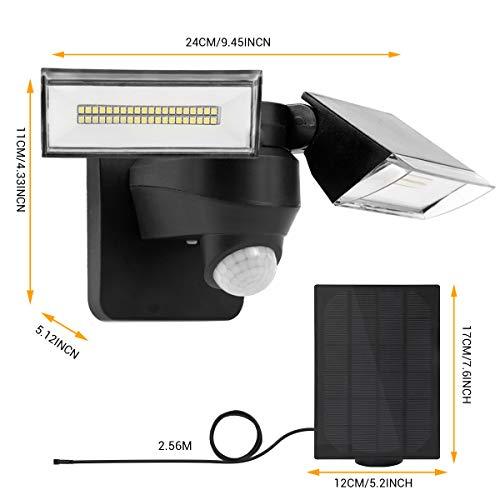 Flood Light Outdoor Motion Sensor Solar Powered with 2 Adjustable Head, 355K-6000K, 3-Mode Spotlight, IP65 Waterproof Solar Emergency Security Light Outdoor for Driveway, Pathway, House