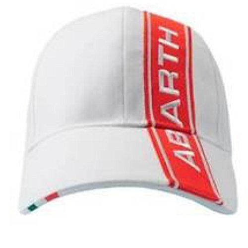 ABARTH Rally Fiat White with Red Stripe Logo Cap