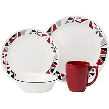 Corelle Livingware 32-Piece Dinnerware Set Mosaic Red Service for 8 (Two  sc 1 st  Amazon.com & Amazon.com | Corelle Livingware 32-Piece Dinnerware Set Mosaic Red ...