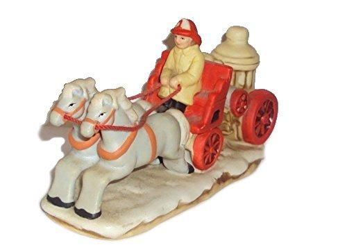 1987 Geo Z Lefton 06458 Colonial Village Fire Pump Horse Drawn Wagon Figurine