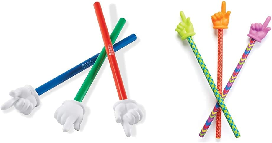 Learning Resources Hand Pointers, Set of 3 & Patterned Hand Pointers, Homeschool, Classroom Helper, Assorted Colors, Set of 3, Ages 3+ Multi-Color, 15 in