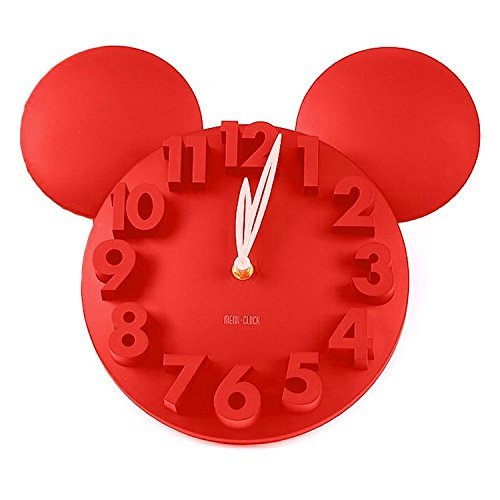 Modern Design Mickey Mouse Big Digit 3D Wall Clock Home Decor Decoration Red (Mouse Mickey Round)