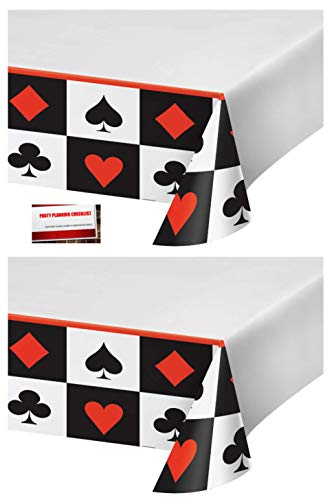 (2 Pack) Casino Poker Night Texas Hold Em Plastic Table Cover 54 X 108 Inches (Plus Party Planning Checklist by Mikes Super Store) -