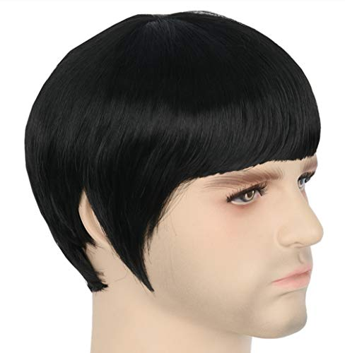 Topcosplay Mens Wig Black Short Spock Cosplay Costume Wig Halloween Clothes Wigs -