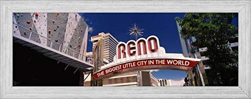 Easy Art Prints Panoramic Images's 'Low Angle View of The Reno Arch at Virginia Street, Reno, Nevada, USA' Premium Framed Canvas Art - 36