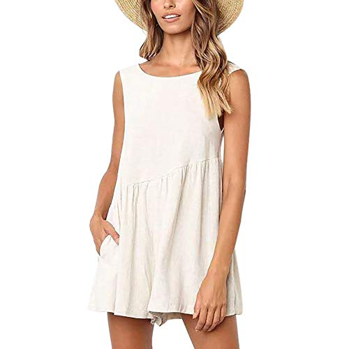 (KOERIM Comfy Loose Short Rompers for Women Summer,Solid Color Sleeveless Casual Concise Jumpsuits,White Flowy Romper)