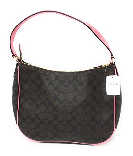 upc 192643034259 product image for COACH F29209 ZIP SHOULDER BAG IN SIGNATURE CANVAS BROWN PINK