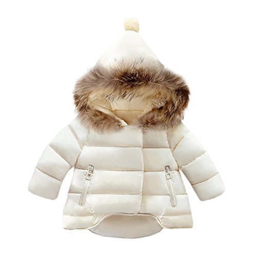 Dinlong Toddler Baby Boys Girls Clothes Waterproof Jacket Outwear Warm Coat Autumn Winter Spring Children Windbreaker Coat Long Sleeve Zipper Tops Outfits (White, 6-12 -