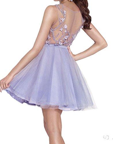 Mini Abschlussballkleider Abendkleider Perlen Kurzes Fuchsia Partykleider Cocktailkleider Charmant Damen xwqEY461