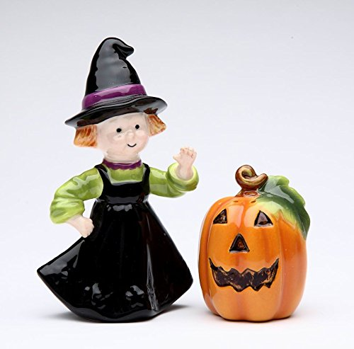 Fine Ceramic Halloween Harvest Cute Girl in Witch Costume with Pumpkin Salt & Pepper Shakers Set 2 1/4