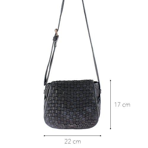 DUDU geflochtene Damentasche aus echtem Leder nach Fertigstellung eingefärbt mit verstellbarem Schulterriemen und Klappe mit Magnetverschluss Black Slate