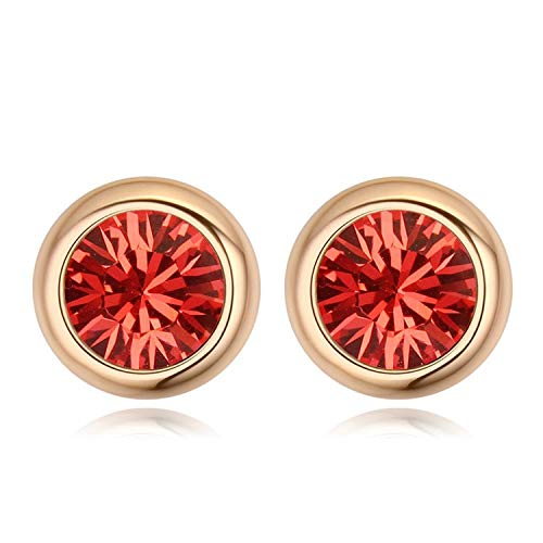 (Original Round Crystals from Swarovski Stud Earrings for Women Party Accessories Pendientes Gold Color Wedding Jewelry)