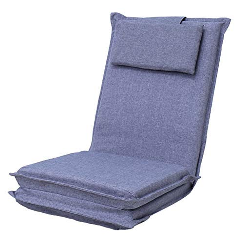 怠惰なソファ折りたたみ式シングルソファベッド出窓ロングベンチ5速調節可能なソファリクライニングチェア折りたたみ式旅行椅子耐荷重120KG(カラー:グレー、サイズ:52 * 52 * 75cm) B07SRWQC7X