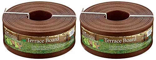 (Master Mark Plastics 95340 Terrace Board Landscape Edging Coil, 5-inch x 40-Foot, Brown (Pack of 2))