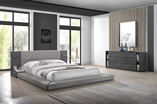 - Limari Home LIM-76049 Cimarron Collection Modern Fabric Upholstered Veneer Finished Platform Bed with Built-in Nightstands, 6 Drawer Double Dresser with Book Shelves & Mirror Set, Eastern King, Grey